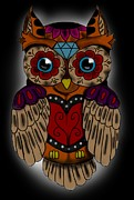 Sugar Skull Digital Art - Sugar Skull owl by Niklas  Bates
