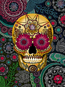 Collage Mixed Media Prints - Sugar Skull Paisley Garden - Copyrighted Print by Christopher Beikmann