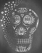 Sugar Skull Drawings Posters - Sugar Skull reverse image Poster by E White