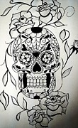 Featured Drawings Framed Prints - Sugar skull  Framed Print by Valerie Silva