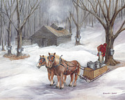 New England Snow Scene Prints - Sugaring Time Again Print by Gregory Karas