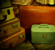 Wooden Floor Posters - Suitcases in the Attic Poster by Mary Machare