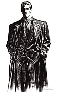 Suit Pastels Prints - Suited Man  Print by Angelo Divino