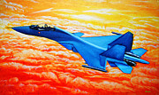 Amazing Sunset Painting Framed Prints - Sukhoi Fighter Aircraft Painting Framed Print by Bhushan Nayak
