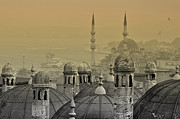 Byzantine Posters - Suleymaniye mosque and New Mosque in Istanbul Poster by Ayhan Altun