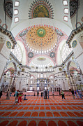 Believer Framed Prints - Suleymaniye Mosque Interior in Istanbul Framed Print by Artur Bogacki