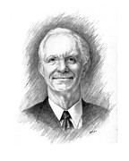 Leaders Drawings Prints - Sully Sullenberger Print by Lou Ortiz