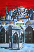 Sultanahmet Camii Framed Prints - Sultan Ahmed Mosque Istanbul Framed Print by Tracey Harrington-Simpson