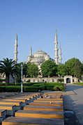 Park Benches Framed Prints - Sultan Ahmet Mosque in Istanbul Framed Print by Artur Bogacki