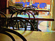 Empty Chairs Digital Art Framed Prints - Sultry Afternoon in a Bar Framed Print by Dee Flouton