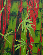 Sequential Originals - Sultry Bamboo Forest acrylic painting by Jaime Haney