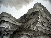Mountain Valley Drawings - Sumi-e 120925-5 by Aquira Kusume