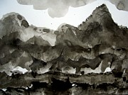 Field. Cloud Drawings Framed Prints - Sumi-e 120926-2 Framed Print by Aquira Kusume