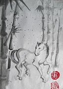 Lynn Maverick Denzer - Sumi-e horse with Bamboo...