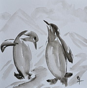 Wash Painting Originals - Sumi-e Penguin Dance by Beverley Harper Tinsley