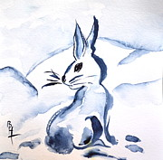 Wash Painting Originals - Sumi-e Snow Bunny by Beverley Harper Tinsley