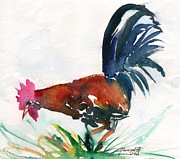 Colorful Rooster Framed Prints - Sumi Style Rooster Framed Print by Marionette Taboniar