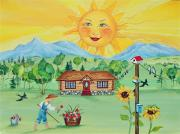 Log Cabin Art Painting Posters - Summer Afternoon Poster by Virginia Ann Hemingson
