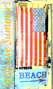 Red White And Blue Mixed Media Prints - Summer and Beach Americana Print by Adspice Studios