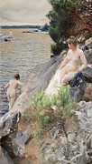 Bath Digital Art Prints - Summer Print by Anders Zorn