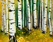 Snowy Night Painting Posters - Summer Aspen Poster by Wendy Wilkins