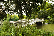 Green Foliage Digital Art Prints - Summer at Bow Bridge Print by Jessica Jenney