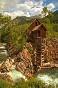 Mill On A Cliff Framed Prints - Summer At Crystal Mill Framed Print by Adam Jewell