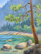 Lake Tahoe Paintings - Summer at Lake Tahoe by Karin  Leonard