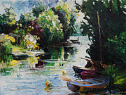 Maritim Painting Prints - Summer At The Creek Fischerbruch In Rostock Print by Barbara Pommerenke