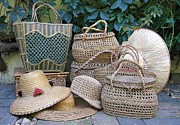 Photography Tapestries - Textiles - Summer baskets and hats by Florinel Nicolai Deciu