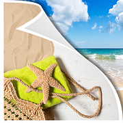 Sand Posters - Summer Beach Basket Poster by Christopher and Amanda Elwell