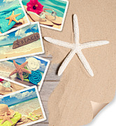 Advertisement Photo Prints - Summer Beach Postcards Print by Christopher and Amanda Elwell