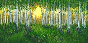 Pathway Paintings - Summer Birch 24 x 48 by Michael Swanson