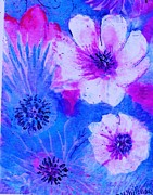 Perky Posters - Summer Blues Pinks and Whites Poster by Anne-Elizabeth Whiteway