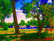 Boats In Water Paintings - Summer Boats Moored Along Tree Lined Lachine Canal Quebec Landscapes  Montreal Art Carole Spandau by Carole Spandau