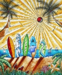 Boats Paintings - Summer Break by MADART by Megan Duncanson
