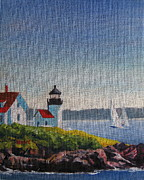 Maine Shore Painting Prints - Summer Breeze Print by Shirley Braithwaite Hunt