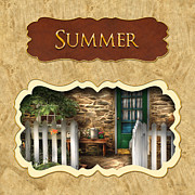 Summer Scenes Prints - Summer button Print by Mike Savad