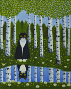 Forest Animal Paintings - Summer cat by Veikko Suikkanen