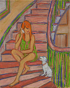 Staircase Painting Originals - Summer Chat by Xueling Zou