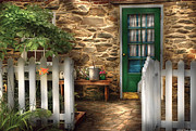 Watering Can Posters - Summer - Cottage - Cottage Side Door Poster by Mike Savad