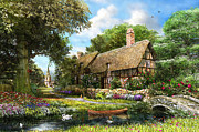 Thatched Cottage Prints - Summer Country Cottage Print by Dominic Davison
