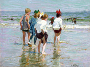 Kids At Beach Prints - Summer Day At Brighton Beach Print by Edward Potthast
