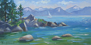 Lake Tahoe Paintings - Summer Day Sand Harbor by Karin  Leonard