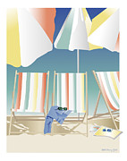 Beach Towel Digital Art Posters - Summer Daze Poster by Marcy Gold