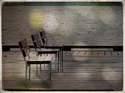 Decorative Benches Digital Art Prints - Summer Dock Waterfront Fine Art Photograph Print by Stephan Chagnon Laura Carter