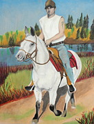 Horse And Riders Posters - Summer Dream Ride Poster by Jeanne Fischer