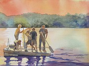 Impressionisttic Paintings - Summer Evening At The Lake by Dodie Davis