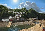 Devon Painting Framed Prints - Summer Evening Clovelly North Devon Framed Print by Richard Harpum