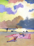 Beach Towel Prints - Summer Evening Print by George Adamson